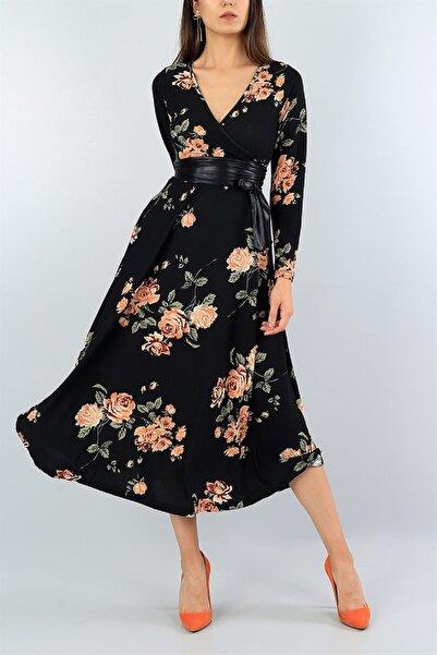 Butik Şımarık Kadın Büyük Beden Gül Desen Süet Kumaş Full Likralı Kemer Dahil Elbise Boy 120cm