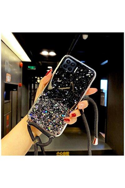 Zebana Oppo Reno 4 Lite Kılıf Simli Askılı Silikon Kılıf Siyah