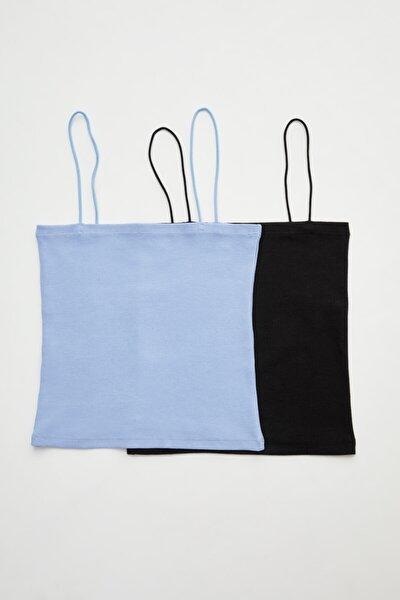 adL 2 ' Li Set Ip Askılı Crop Straplez Bluz