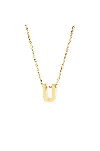 Şimal Silver 925 Ayar Gümüş Sarı Zincir U Harf Kolye