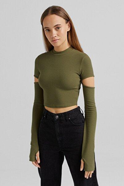 Bershka Uzun Kollu, Pencere Detaylı T-shirt
