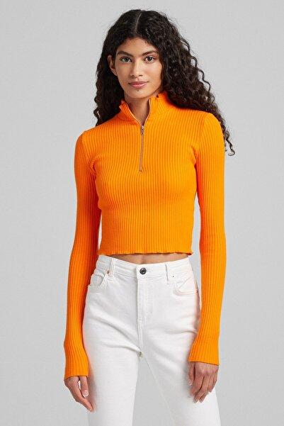 Bershka Fermuarlı Uzun Kollu T-shirt