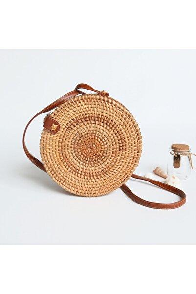 Bohem Stil Rattan Bambu Hasır Çanta