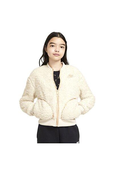 Nike G Nsw Sherpa Shine Fz Bomr Pr Çocuk Beyaz Günlük Stil Ceket