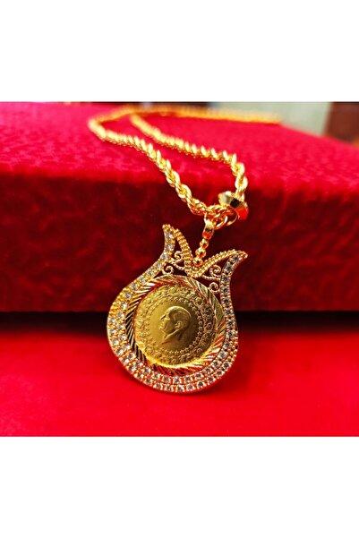 dost altın 22 Ayar Yarım Altın, Altın Kaplama Lale Çerçeveli Ve Halat Zincirli Kolye