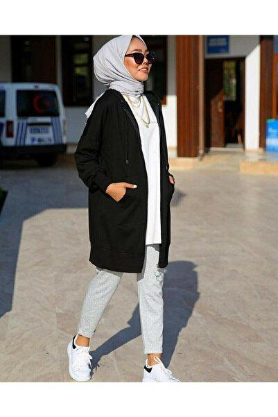 TAYHAN Kadın Tesettür Fermuarlı Kanguru Cepli Ceket Sweatshirt