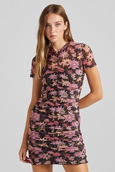 Bershka Uzun Kollu Çiçek Desenli Tül Kısa Elbise