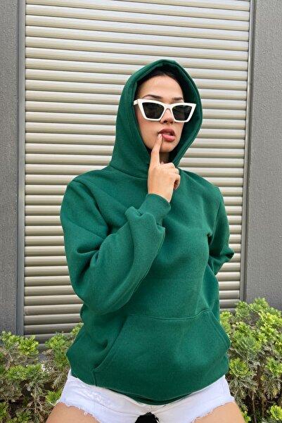 MODAGEN Kadın Oversize Kapşonlu Sweatshirt Yeşil