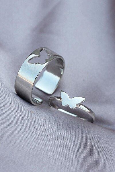 Sadoz Aksesuar Gümüş Metal Ayarlanabilir Kelebek Model Çift Yüzüğü