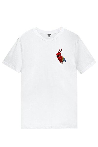 MINECRAFT Papağan Baskılı Kısa Kollu Beyaz Gamer Tişört