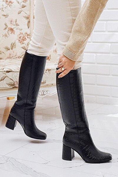Limoya Enola Siyah Kroko Orta Boy Topuklu Küt Burunlu Çekme Çizme Dizaltı