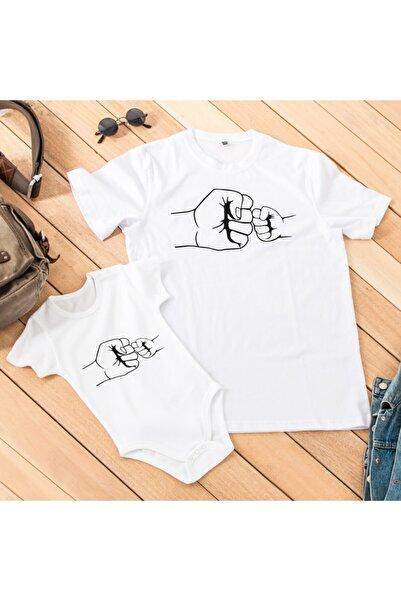 Hediyesepeti Sıkı Dostlar Tasarımlı Erkek Tişört 1-3 Ay Bebek Body Kombini - Baba Oğul - Baba Kız