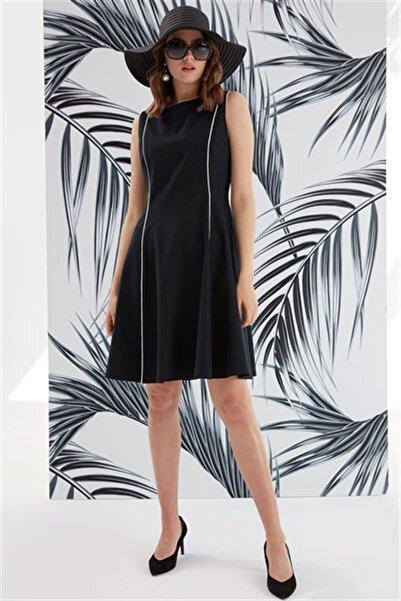 Journey Elbise-sıfır Yaka Ve Kup Biye Detaylı, Kolsuz