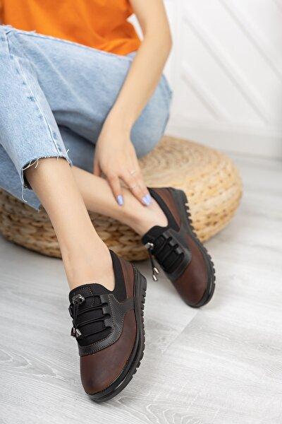 AYAKKABI BÜYÜSÜ Içi Deri Ortopedik Taba Cilt Günlük Bayan Ayakkabı