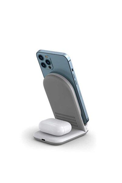 Cep prime Wiwu Power Air Android Apple V Airpods Cihazlar Uyumlu Soğutma Özelliği 2 In 1 Kablosuz Şarj Standı