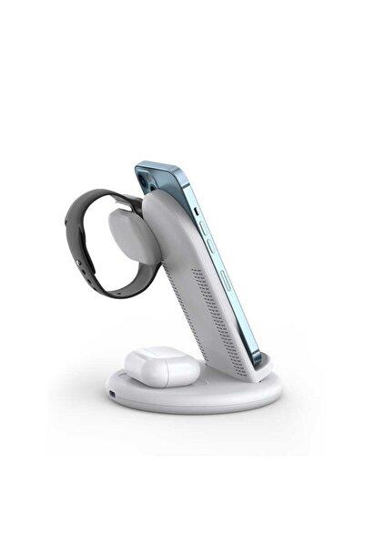 Cep prime Wiwu Power Air 3 In1 Android Apple Airpods Ve Apple Watch Uyumlu Kaymaz Taban Kablosuz Şarj Standı