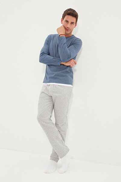 TRENDYOL MAN Mavi Erkek Regular Fit Üst Örme Alt Çizgili Dokuma Pijama Takımı THMAW22PT0429