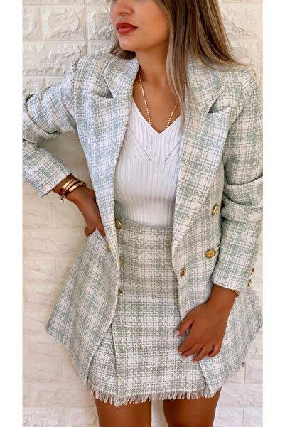SEDA FİDAN Tuvid Gold Düğmeli Blazer Ceket Mint