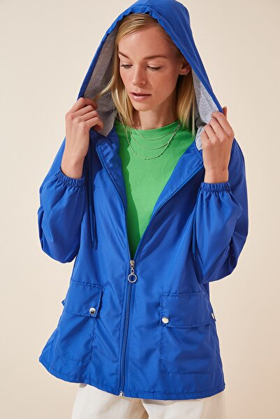 Happiness İst. Kadın Canlı Mavi Kapüşonlu Mevsimlik Rüzgarlık Ceket KY00002