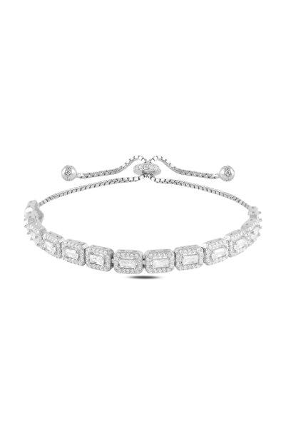 Crystal Diamond Zirconia Işıklı Kutuda Sertifikalı Laboratuvar Pırlantası 19 Karat Baget Bileklik