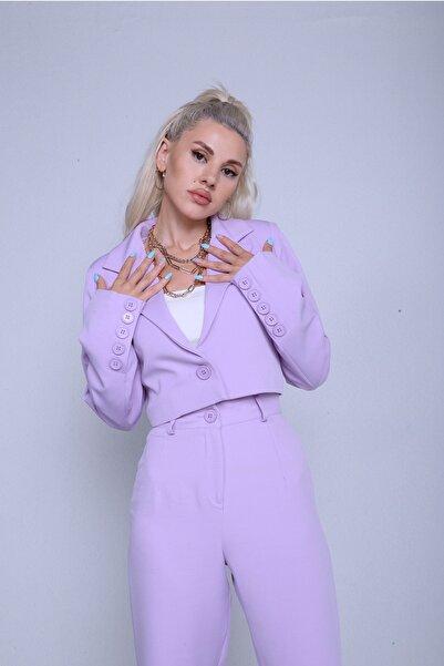 HOLLY LOLLY Kadın Lila Crop Kol Düğme Detaylı Panky Ceket