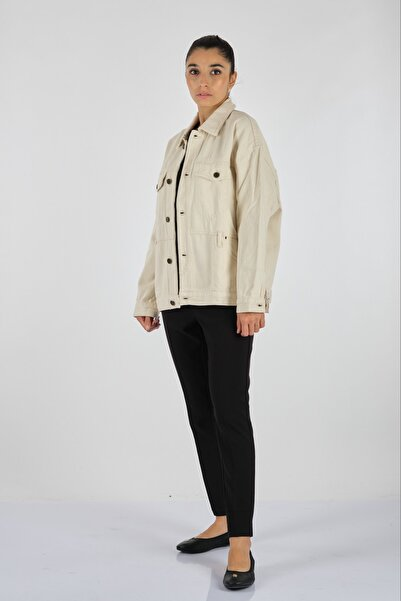 American Vintage A.vıntage Gömlek Yaka Jean Ekru Ceket Tıne16eh21