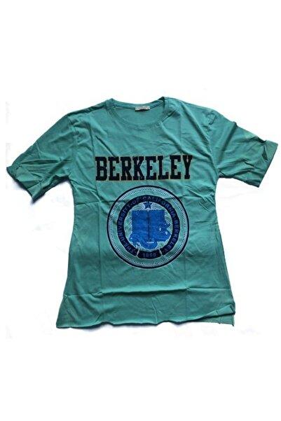 Uçar Pelit Baskılı Kadın T-shirt O Yaka Turkuaz