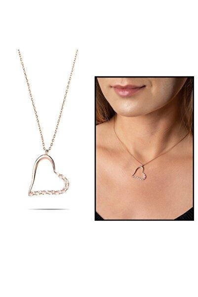 Tesbihane Zirkon Taşlı Asimetrik Kalp Tasarım Rose Renk 925 Ayar Gümüş Kolye