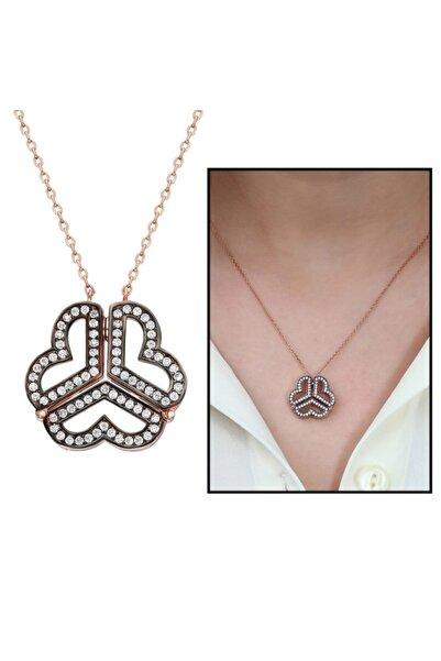 Tesbihane Beyaz Zirkon Taşlı Iki Kullanımlı Üç Kalp 925 Ayar Gümüş Kadın Kolye