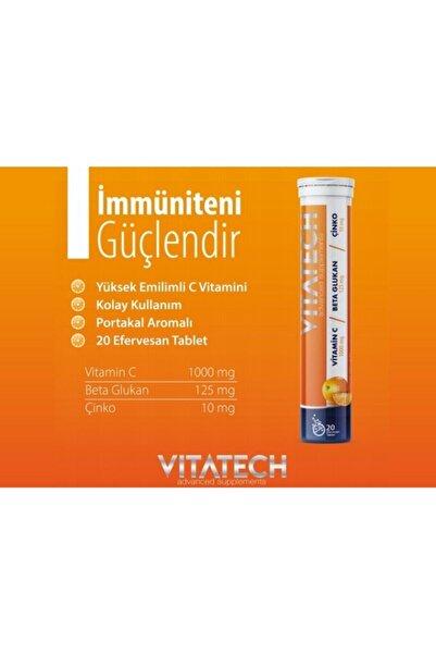 VITATECH 3in1 Vitamin C + Beta Glukan + Çinko 20 Efervesan Tablet