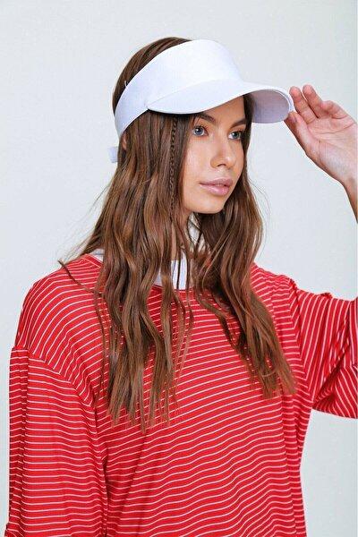 şapkadan Unisex Uv Koruyucu Vizör Kasket Siperlik Tenis Şapka Beyaz