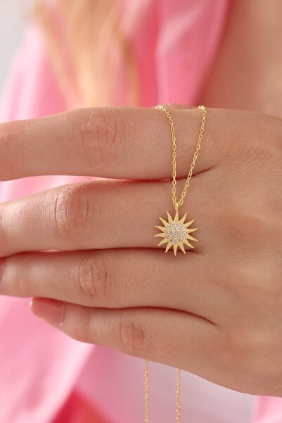 takı tak silver Tamamı 925 Ayar Gümüş Altın Kaplama Zirkon Taşlı Güneş Kolye