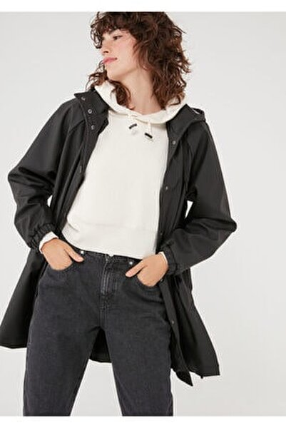 Kapüşonlu Siyah Ceket 110869-900