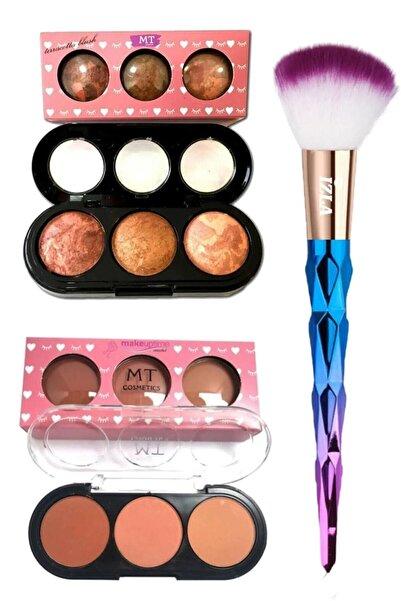 Makeuptime 3'lü Mat Allık Terracotta Allık Ve Allık Fırçası Seti