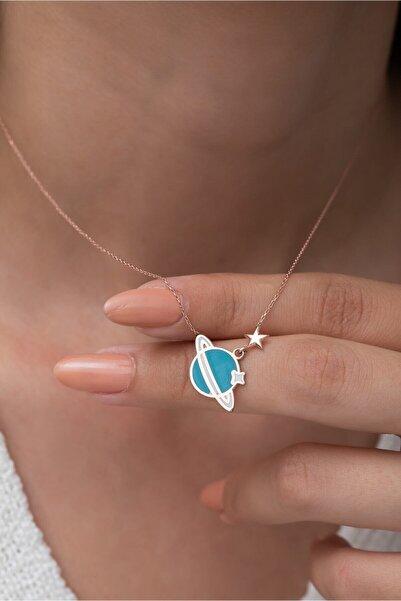 Papatya Silver 925 Ayar Gümüş Gezegen Kolye Mavi Mine Dolgulu Rose Altın Kaplama