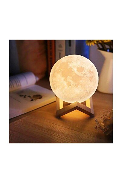 hediyeofisi 3d Standlı Ay Gece Lambası Dekoratif Küre Led 3d Ay Lamba
