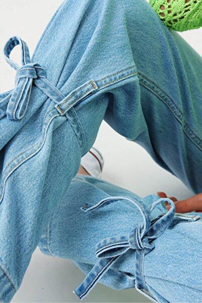 Modakapimda Mavi Bilekleri Bağcıklı Ispanyol Paça Jean Pantolon