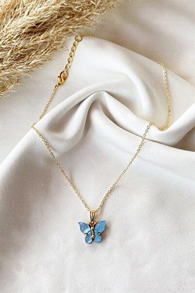 TAKIŞTIR Altın Renk Mavi Kelebek Figürlü Kolye
