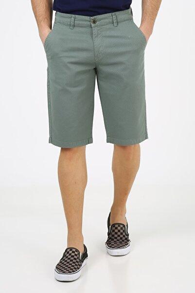 muzzo jeans Erkek Siyah Nokta Baskılı Yeşil Şort