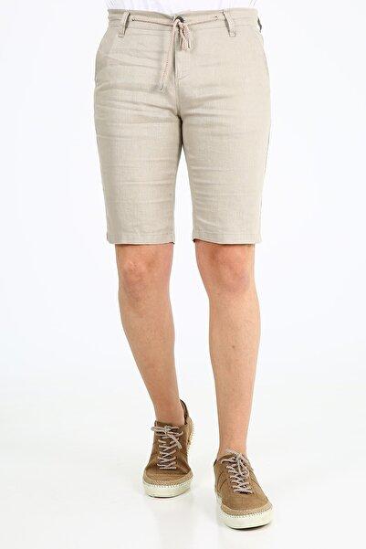 muzzo jeans Erkek Açık Bej Lastikli Keten Şort