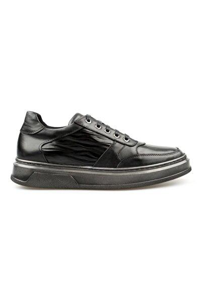 Jakamen Siyah Hakiki Deri Bağcıklı Erkek Günlük Ayakkabı