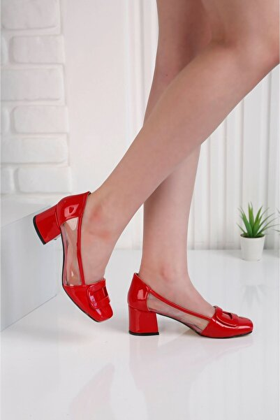 Edvani Barbie Topuklu Kırmızı Şefaf Ayakkabı