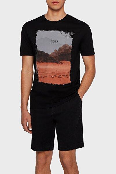 Hugo Boss Regular Fit Baskılı Bisiklet Yaka % 100 Pamuk T Shirt Erkek T Shirt 50453656 002