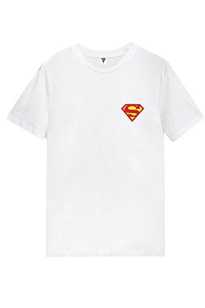 Superman Süperman Logo Baskılı Kısa Kollu Beyaz Gamer Tişört