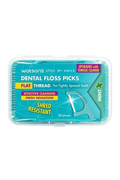 Watsons Flat Thread Dental Floss Picks Mint 50 Adet