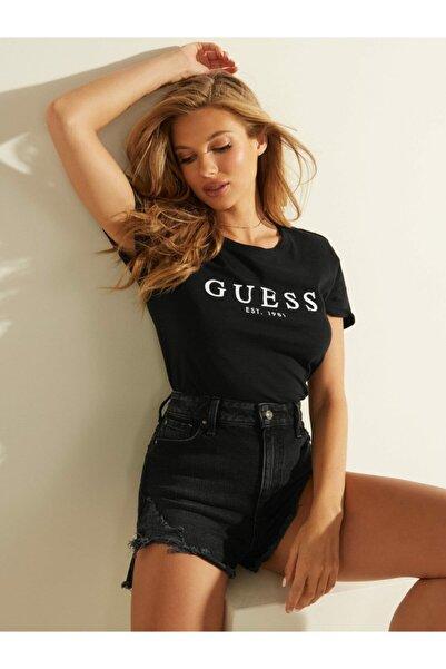 Guess Es Ss Roll Cuff Siyah Kadın Tişört