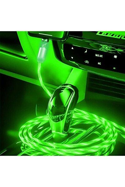 ECICO Ledli(ışıklı) Telefon Şarj Kablosu -mıknatıs Özelliği 3 Ayrı Uç(type-c,ios,anroid)