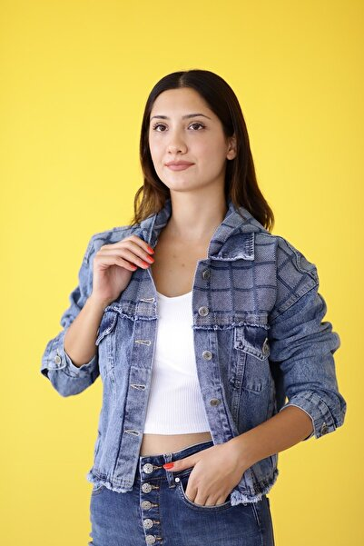 MDL Kapşonlu Ekose Parçalı Jean Ceket
