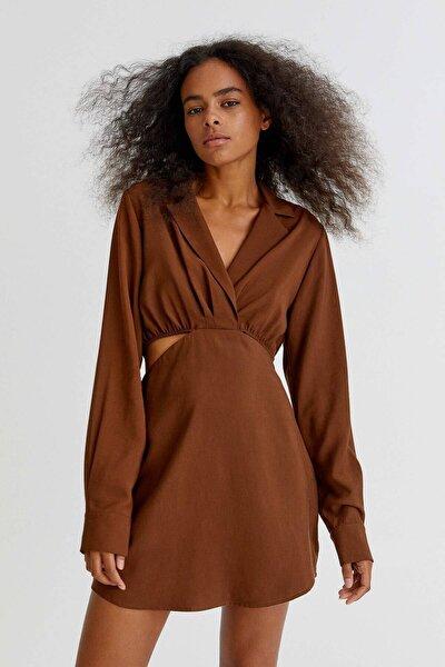 Pull & Bear Pencere Detaylı Kısa Gömlek Elbise