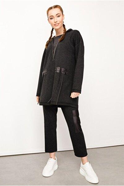 Ghisa Kapşonlu Tunik Pantolon Takımı Siyah